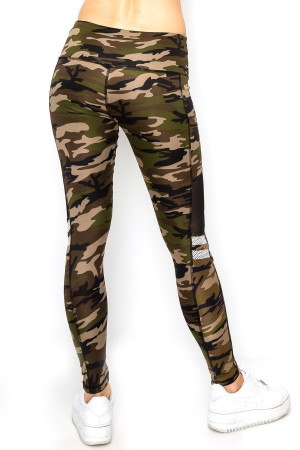 Wholesale Camouflage Mesh High Waisted Sport Leggings with Side Pocket
