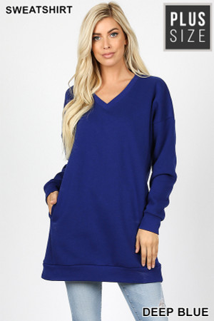Wholesale Oversized V-Neck Plus Size Fleece Lined Sweatshirt with Pockets