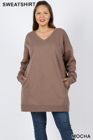 Wholesale Oversized V-Neck Plus Size Fleece Lined Sweatshirt with Pockets