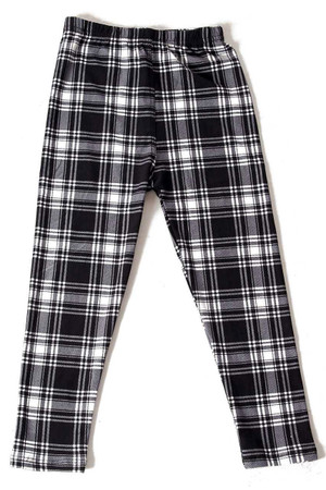 Wholesale Buttery Soft Monochrome Tartan Plaid Kids Leggings