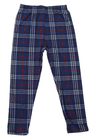 Wholesale Buttery Soft Navy Blue Plaid Kids Leggings
