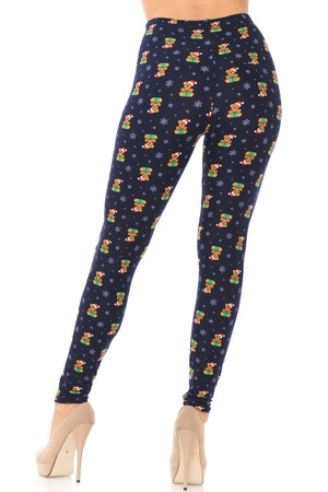 Wholesale Buttery Soft Christmas Teddy Bears Leggings
