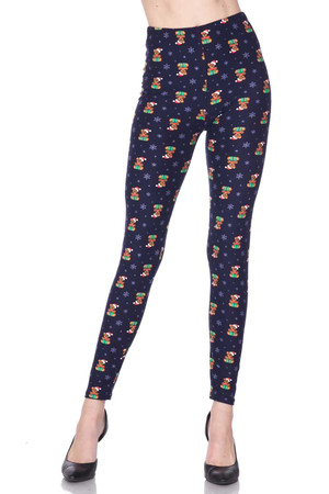 Wholesale Buttery Soft Christmas Teddy Bears Extra Plus size Leggings - 3X-5X