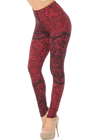 Wholesale Buttery Soft Rouge Holiday Leaf Extra Plus Size Leggings - 3X-5X