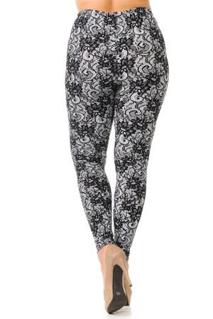 Wholesale Buttery Soft Sassy Lace Print Plus Size Leggings