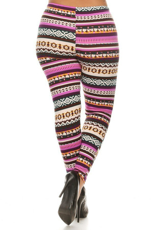 Wholesale Fleece Lined Plus Size Pink Garland Leggings