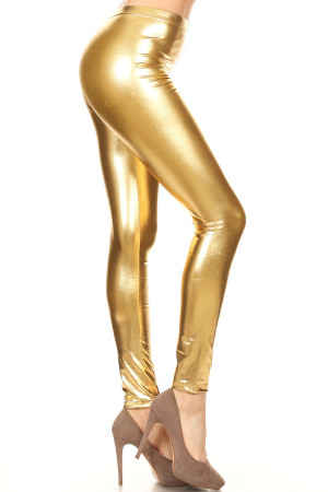 Gold Wholesale Shiny Metallic Leggings