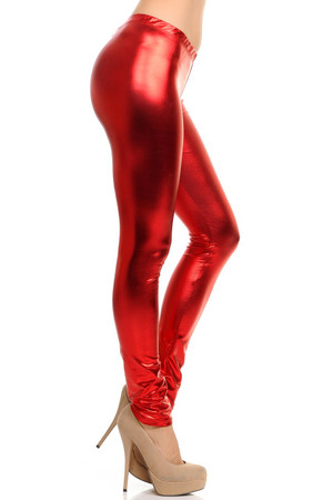 Red Wholesale Shiny Metallic Leggings