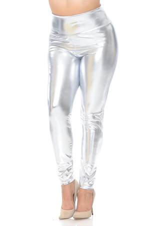 Wholesale Shiny Metallic High Waisted Plus Size Leggings