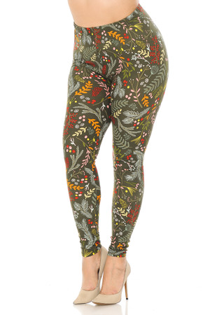 Wholesale Buttery Soft Olive Garden Plus Size Leggings