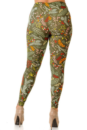 Wholesale Buttery Soft Olive Garden Extra Plus Size Leggings - 3X-5X