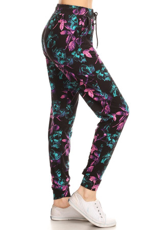 Wholesale Buttery Soft Electric Pink and Teal Floral Joggers