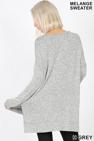 Wholesale Brushed Melange Round Neck HI-LOW Top