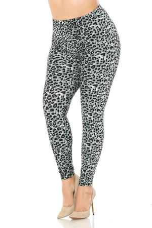 Wholesale Buttery Soft Snow Leopard Plus Size Leggings