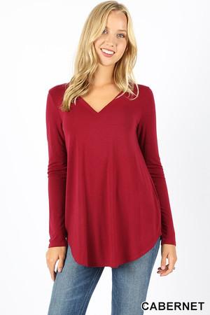 Wholesale Premium V-Neck Round Hem Long Sleeve Top