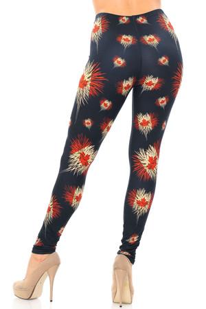 Wholesale Creamy Soft Canadian Flag Fireworks Plus Size Leggings - USA Fashion™