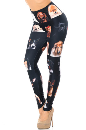 Wholesale Creamy Soft Cute Puppy Dog Faces Leggings - USA Fashion™