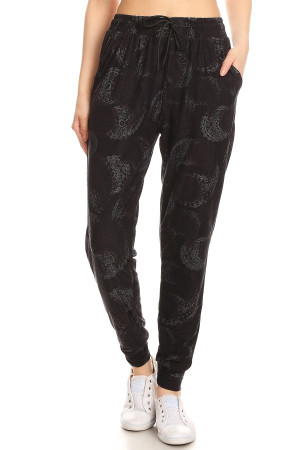 Wholesale Buttery Dark Ebony Paisley Plus Size Joggers