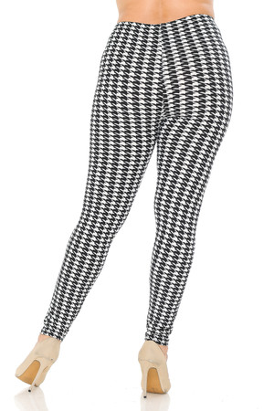 Wholesale Buttery Soft Black and White Houndstooth Plus Size Leggings