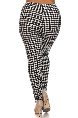 Wholesale Buttery Soft Black and White Houndstooth Extra Plus Size Leggings - 3X-5X