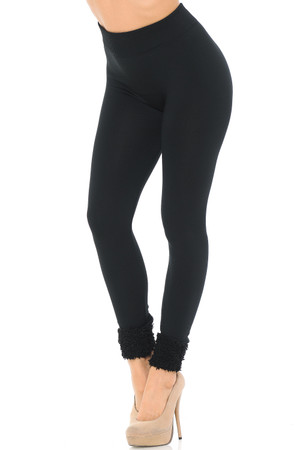Wholesale Women's Fleece Lined Black Cuff Leggings