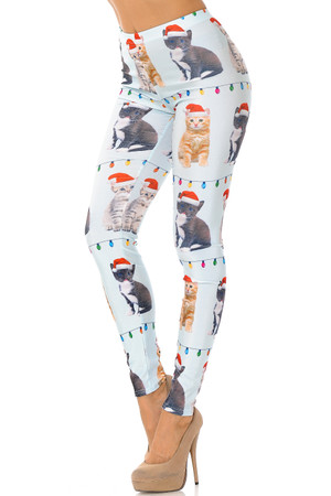 Wholesale Cats in Hats Christmas Leggings