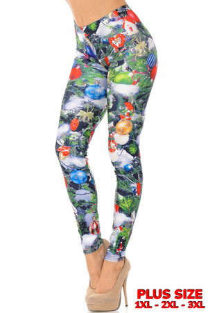 Wholesale Trimmed Up Christmas Tree Plus Size Leggings