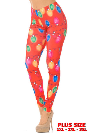 Wholesale Ruby Red Colorful Christmas Lights Plus Size Leggings