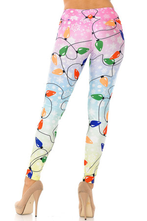 Wholesale Ombre Christmas Lights High Waisted Plus Size Leggings