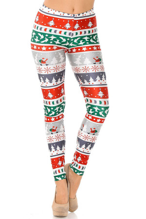 Wholesale Festive Holiday Country Christmas Plus Size Leggings