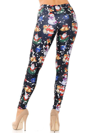 Wholesale Black Wonderful Festive Christmas Plus Size Leggings