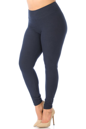 Wholesale Buttery Soft Basic Solid Plus Size Leggings - EEVEE - 3 Inch