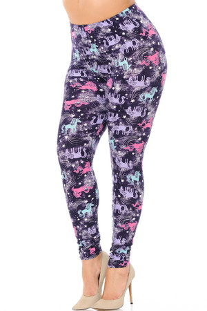 Wholesale Buttery Soft Frisky Unicorn Extra Plus Size Leggings - 3X-5X