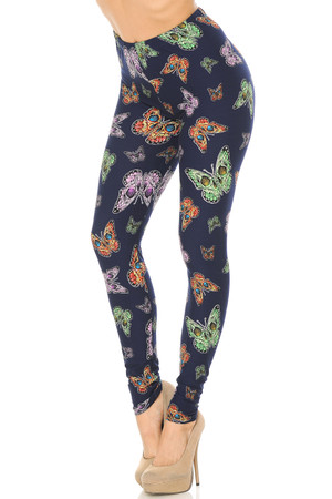 Wholesale Buttery Soft Blue Moon Colorful Butterfly Leggings