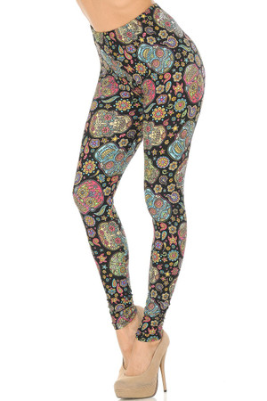 Wholesale Buttery Soft Mandala Sugar Skull Plus Size Leggings