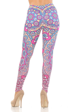 Wholesale Double Brushed Pinky Blue Mandala Leggings