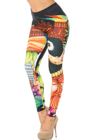 Wholesale Double Brushed Colorful Toucan Leggings