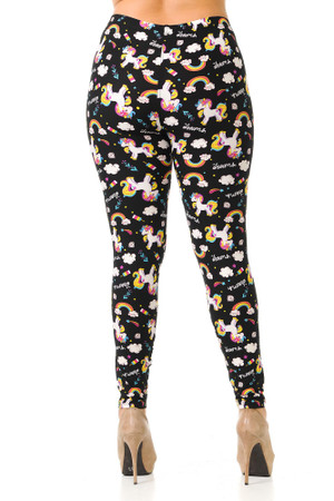 Wholesale Buttery Soft Rainbow Unicorn Plus Size Leggings
