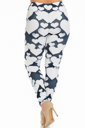 Wholesale Creamy Soft 3D Hearts Extra Plus Size Leggings - 3X-5X