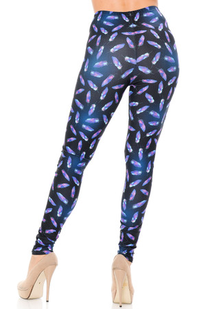 Wholesale Creamy Soft Glowing Iridescent Feathers Extra Plus Size Leggings - 3X-5X