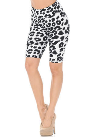 Wholesale Buttery Soft Ivory Spotted Leopard Shorts - 3 Inch Waist Band