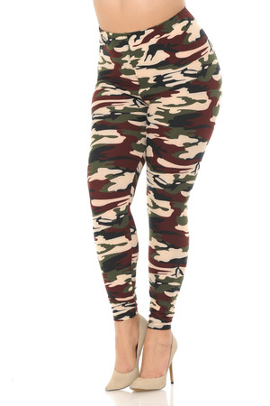 Wholesale Buttery Soft Cozy Camouflage Plus Size Leggings