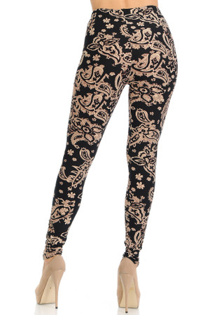 Wholesale Buttery Soft Sand Pepper Paisley Plus Size Leggings