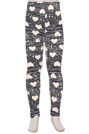 Wholesale Buttery Soft Rustic Hearts Kid's Leggings
