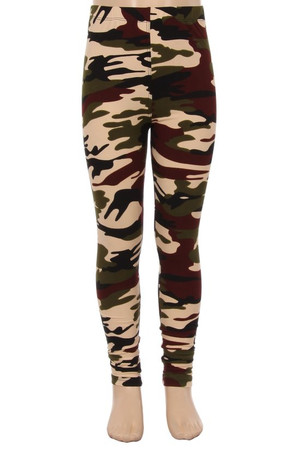 Wholesale Buttery Soft Cozy Camouflage Kids Leggings - EEVEE