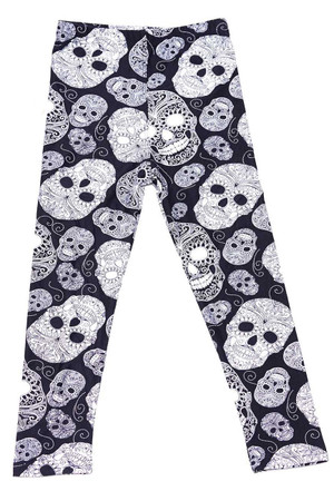 Wholesale Buttery Soft Black and White Sugar Skull Kids Leggings