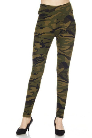 Wholesale Buttery Soft Green Camouflage High Waist Plus Size Leggings