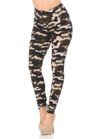 Wholesale Buttery Soft Flirty Camouflage High Waist Plus Size Leggings