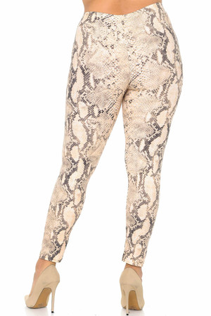 Wholesale Buttery Soft Beige Boa Snakeskin Plus Size Leggings