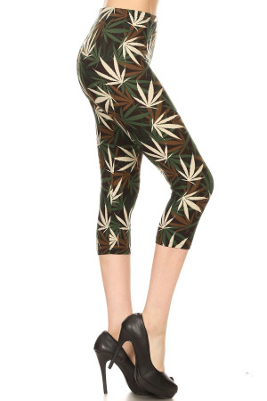 Wholesale Buttery Soft Earthen Marijuana Extra Plus Size Capris - 3X-5X